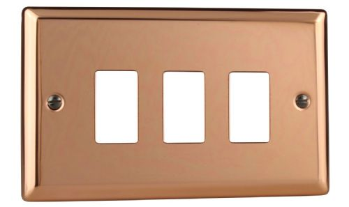 Varilight XYPGY3.CU Urban Polished Copper 3 Gang PowerGrid Plate (Twin Plate)
